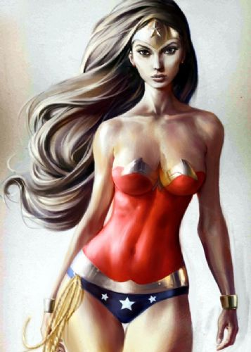 WONDER WOMAN - BODY PAINT canvas print - self adhesive poster - photo print
